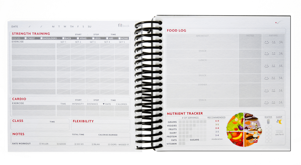 fitbook, food log journal, record workout journal, new years resolutions