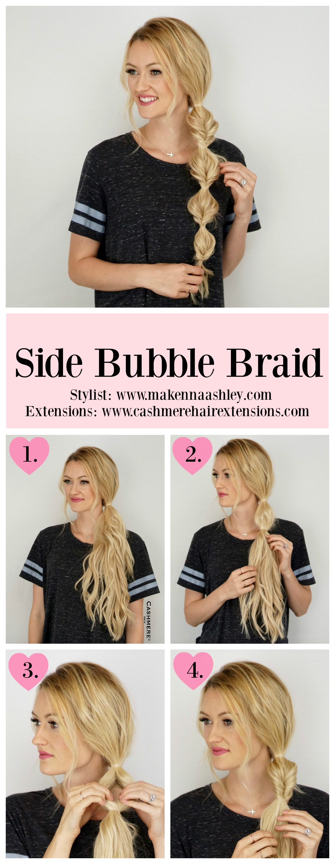 Side Bubble Braid Tutorial Using Cashmere Hair-viva glam magazine-beauty-hair cashmere hair2