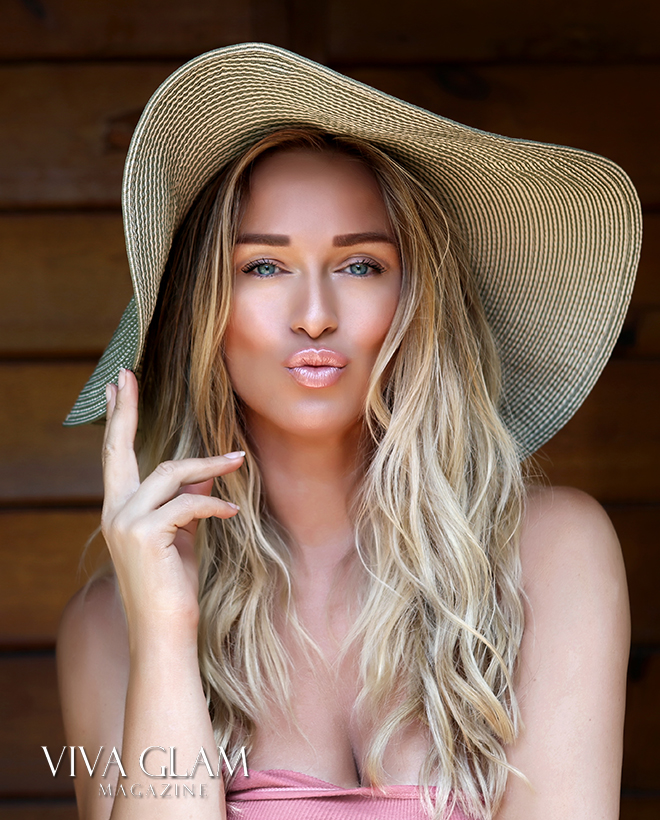 katarina van derham bronze beach makeup deja jordan cashmere hair sunset blonde hat slovak vegan