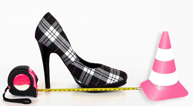personal boundaries plaid high heel, measuring tape, traffic cone, pink tools, pink construction