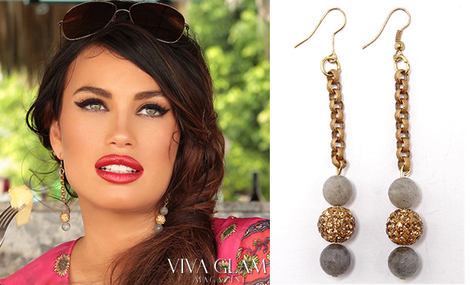 Jewelry Gold and Agate Grey Stone earrings by Glamarella, model Alina Puscau, VIVA GLAM MAGAZINE