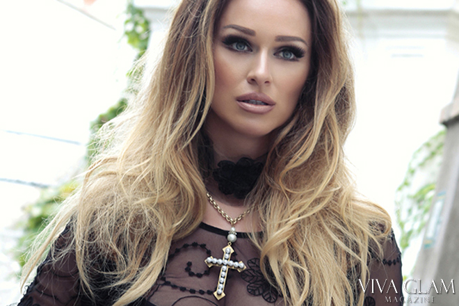 Jewelry black lace pearl cross choker by Glamarella, model Katairina-Van-Derham, VIVA GLAM MAGAZINE