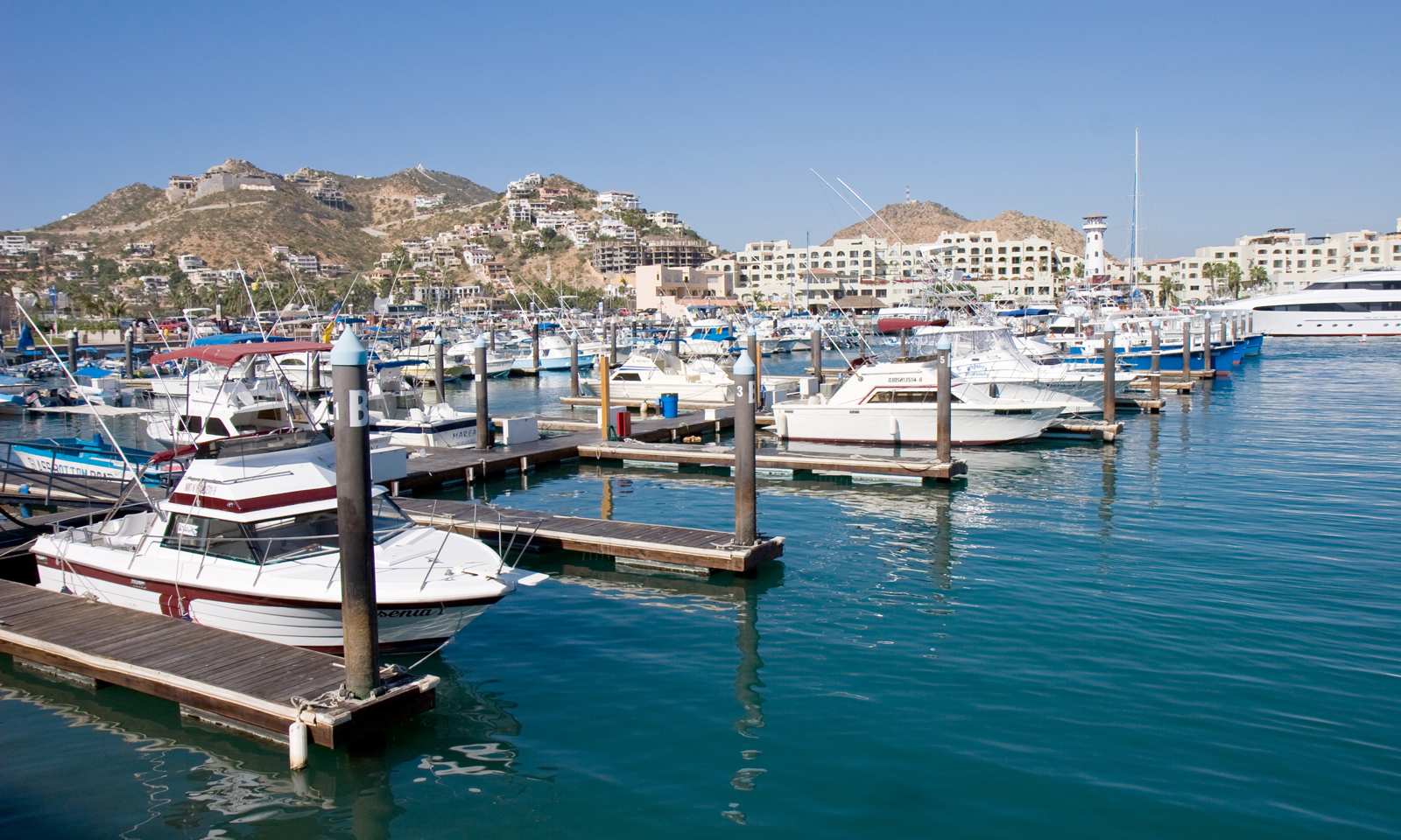 Small harbor, Boats moored in Cabo San Lucas, Mexico