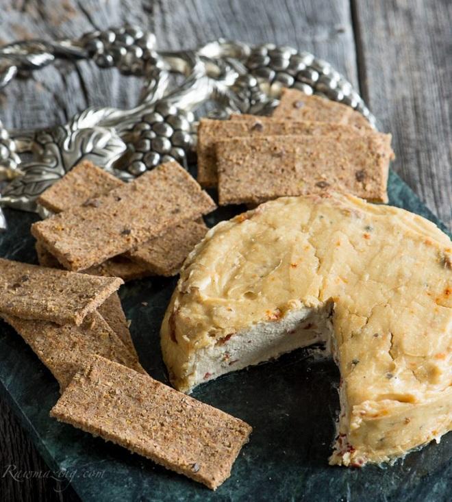 21 Amazing Vegan Cheese Recipes garlic and sun-dried tomato cheese