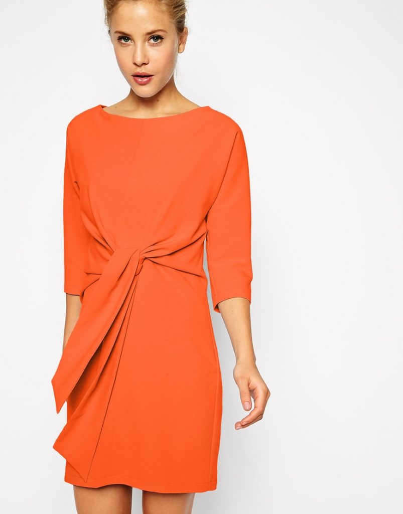 asos-orange-shift-dress-with-tie-waist-60s-fashion-trend-style