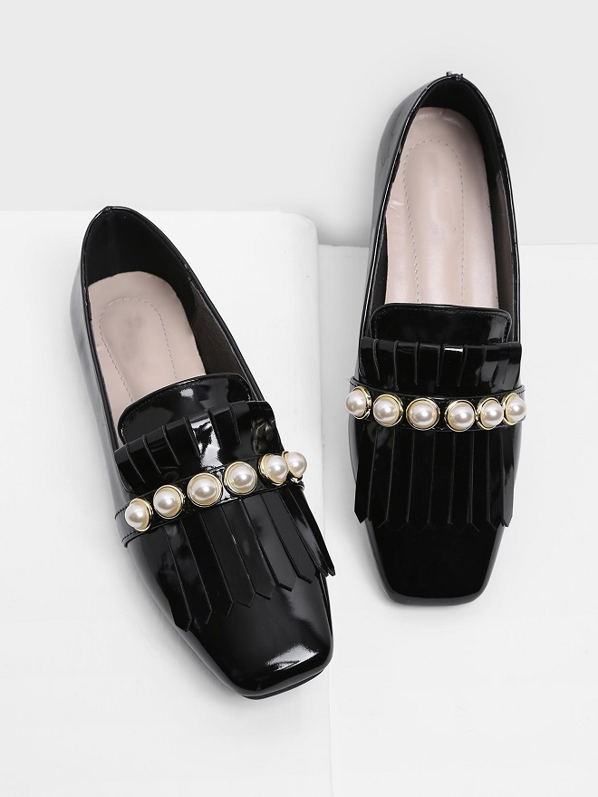 21 Embellished Shoes You Should Add to Your Closet black embellished flats with pearls