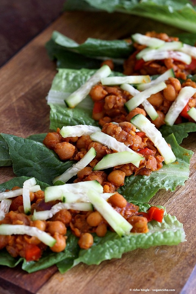 22 Vegan Recipes to Enhance with Gochujang SWEET SPICY GOCHUJANG CHICKPEA LETTUCE WRAPS