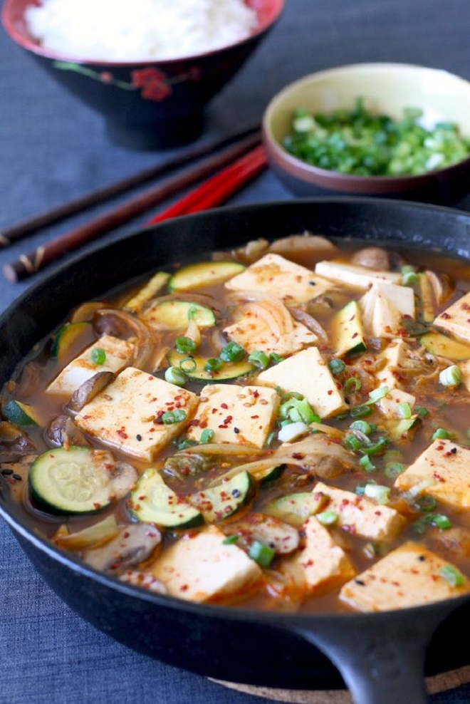 22 Vegan Recipes to Enhance with Gochujang Korean tofu stew in Skillet